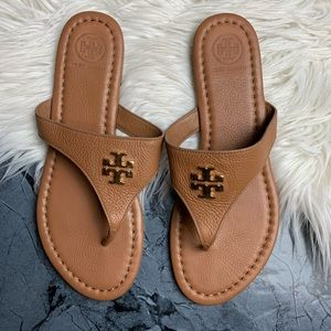 Tory Burch Laura Flat Thong Slip-on size 7.5 Tan